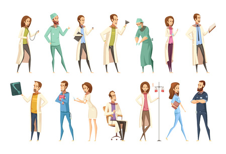 Nurse characters set in cartoon retro style with men and women in different activities isolated vector illustration