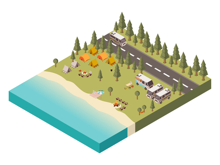 log basket: Campsite near lake with umbrella on beach bonfire and tourist gear transport and road isometric vector illustration