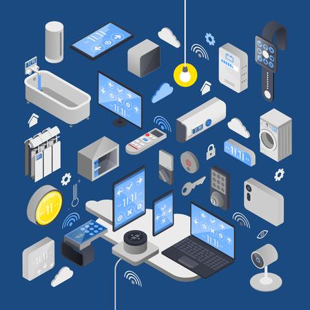 IOT Internet van dingen isometrische samenstelling met elementen van slim huis en technische attributen vectorillustratie Stock Illustratie