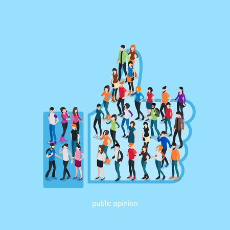 Society isometric conceptual like with people crowd in shape of hand with up thumb isolated vector illustration