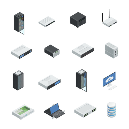 Datacenter server cloud computing isometric icons set with isolated images of hardware networking equipment infrastructure server racks vector illustration Illustration