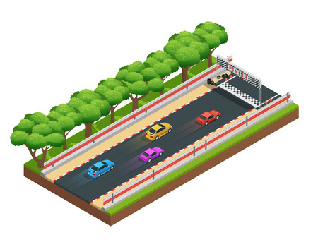 cars race: Car race track isometric composition with game racing course with colorful images of cars and trees vector illustration