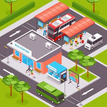 Bus station isometric design with  tourists on platforms public transport ticket office and road infrastructure vector illustration Illustration