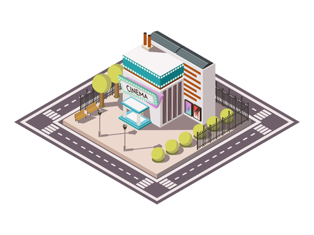 cinema screen: Cinema building isometric composition with road bench and trees vector illustration Illustration