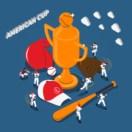 inning: American cup baseball game design with trophy players sports gear on textured blue background isometric vector illustration Illustration