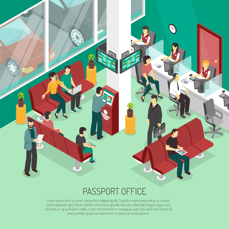 Passport office in green color with employees and visitors terminal of queue interior elements isometric vector illustration