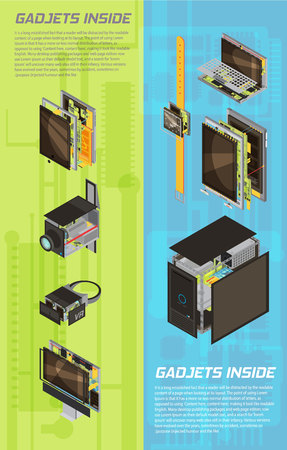 Two vertical isolated and colored gadgets scheme banner set with gadgets inside headlines vector illustration