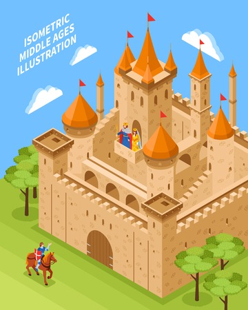 Isometric royal castle composition with rider on a brown horse and nature around vector illustration Illustration