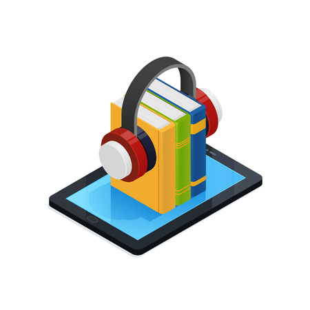 Online audio books isometric design with wireless headphones and mobile device on white background 3d vector illustration
