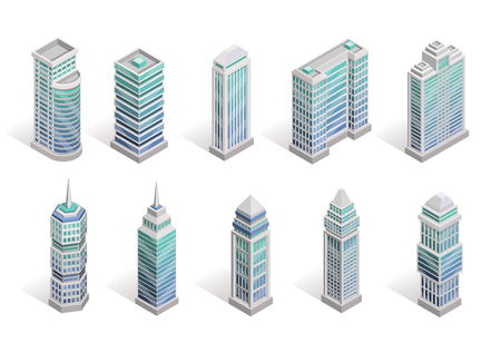 City houses isometric set with different skyscrapers isolated vector illustration