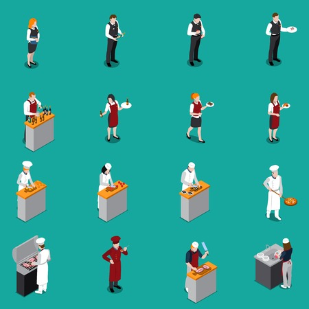 Isometric set with restaurant staff including administrator chef cooks waiters dishwasher on green background isolated vector illustration