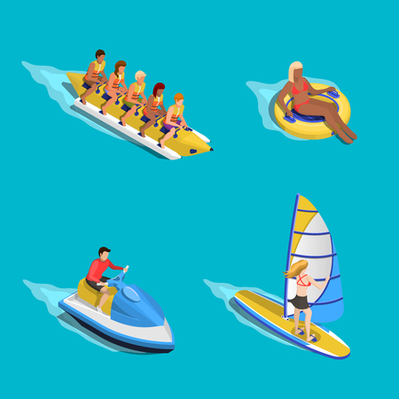 motorboat: Sea activities people composition with isometric images of human characters riding tube scooter banana boat sailboard vector illustration