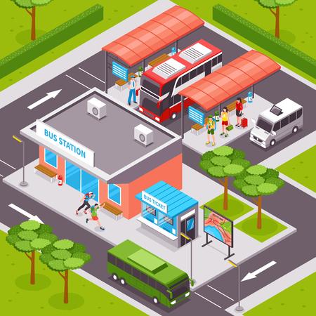 プラットフォーム公共交通機関チケット オフィス、道路インフラ ベクトル イラストの観光客でバス駅等尺性デザイン 写真素材