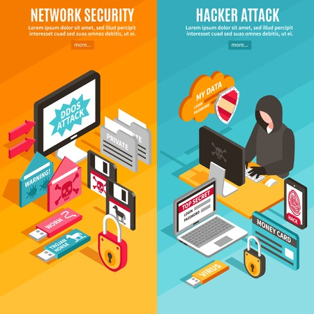 Vertical internet hacker attack and network security colorful banners set isolated isometric vector illustration