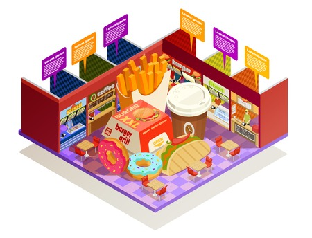 dessert buffet: Interior multiple food vendors counters elements with common area for self-serve dinner colorful isometric composition vector illustration Illustration