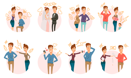 Marriage and divorce process round compositions set with partners couple doodle characters