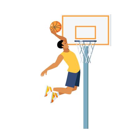 slam dunk: Young man doing basketball jump slam dunk near backboard with hoop on white background vector illustration