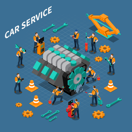 Car service isometric composition with people equipment and tools symbols vector illustration Illustration