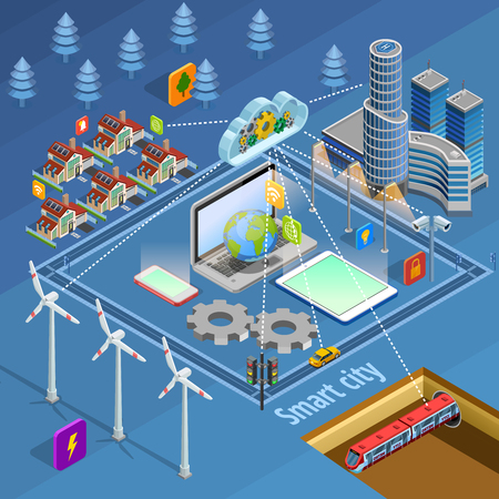 Smart city internet of thing solutions managing safety energy supply communication and transport isometric Illusztráció