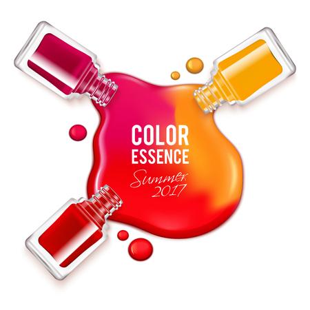 Gegoten kleurrijke nagellak en geopende containers op witte achtergrond realistische vector illustratie