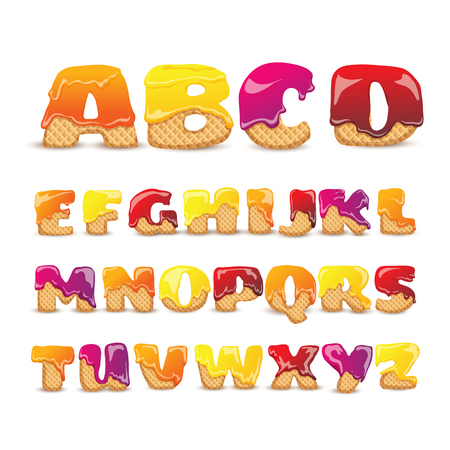 Coated waffles latin letters sweet alphabet with fruit flavor funny colorful pictograms collection poster abstract vector illustration
