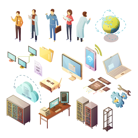 art processing: Datacenter Isometric isolated icons set of server hardware and technical staff supporting safety of software and data transfer flat vector illustration