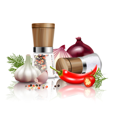 Colored and realistic spices vegetables composition with fresh vegetables and flavorings to dishes Ilustrace