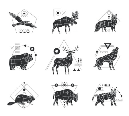 Polygonal monochrome emblems set with wild animals and birds and geometric pattern