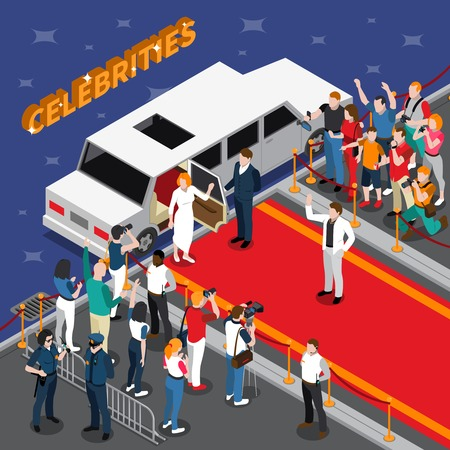 Celebrities on red carpet isometric composition with white limousine guards admirers photographers reporters police 3d vector illustration Illustration
