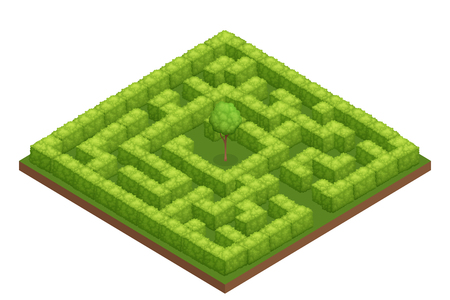 Garden labyrinth isometric image with square maze walls made of bushes and tree in the center