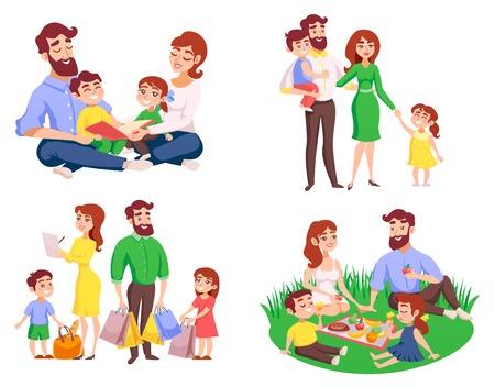 Ensemble de famille pendant la marche, pique-nique dans la Prairie, lecture, après le shopping style cartoon rétro