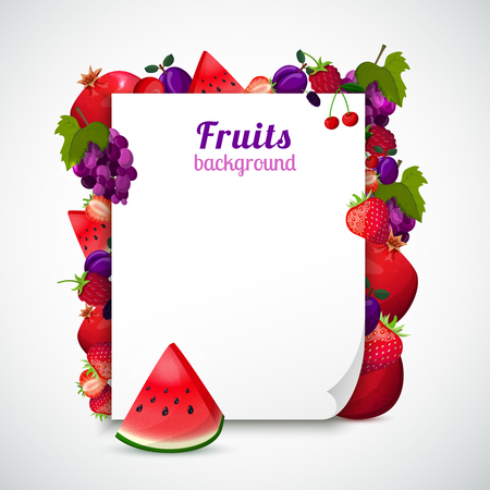 Sheet of paper decorated red and purple fruits with green leaves