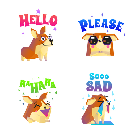 lap dog: Corgi composition set with four isolated funny lap dog character flat images with decorative text captions