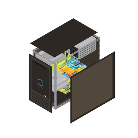 Isometric realistic processor scheme with walls removed to show that the inside