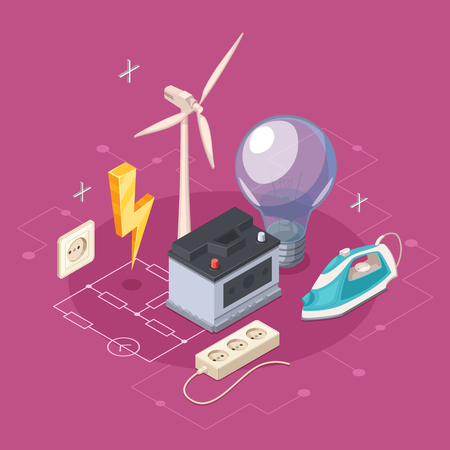 electricity export: Electricity isometric concept with socket and domestic appliances symbols vector illustration