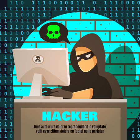 Hacker in gloves and mask near computer and cloud with skull on brick wall background