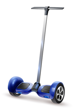 Realistic self-balancing gyro two-wheeled board scooter or hoverboard