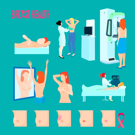 Colored flat and isolated breast disease icon set with different disease and ways to treat and recognize disease Çizim