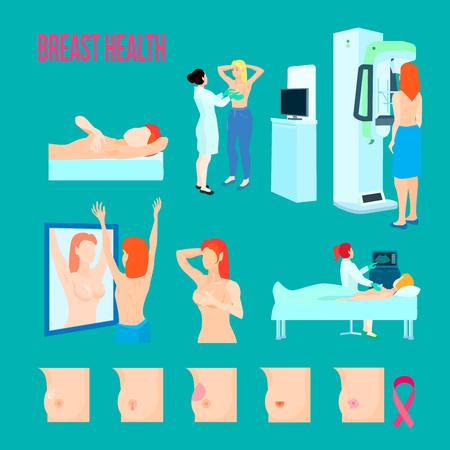 Jeu d'icônes de maladies mammaires plat et isolé de couleur avec différentes maladies et façons de traiter et de reconnaître la maladie
