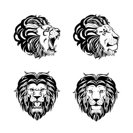 さまざまな角度でライオンの頭を持つ 4 つの彫刻のコレクション手に描画されたインク スタイルは白い背景のベクトル図に分離
