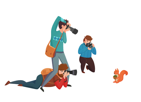 Nature photographer design concept with three men with camera shooting squirrel flat vector illustration Stock Photo