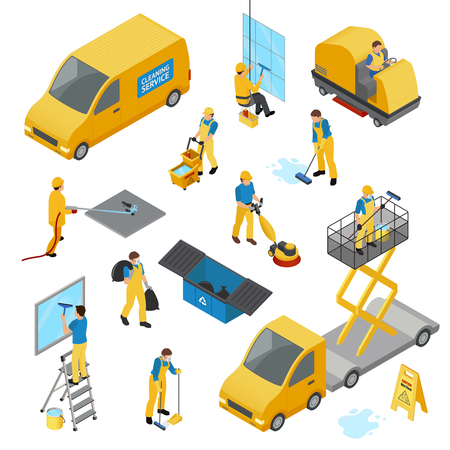 Colored isometric industrial cleaning icon set with people in yellow work uniform Illustration