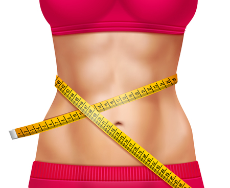 waistline: Female athletic waistline 3d design with red sports clothing and measuring tape on white background
