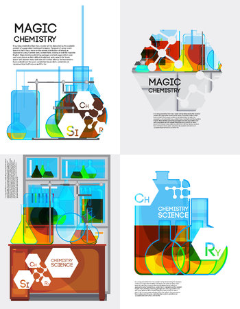 liquids: Chemical laboratory posters set with flat jars and test tubes colorful liquids with principle element signs vector illustration Illustration