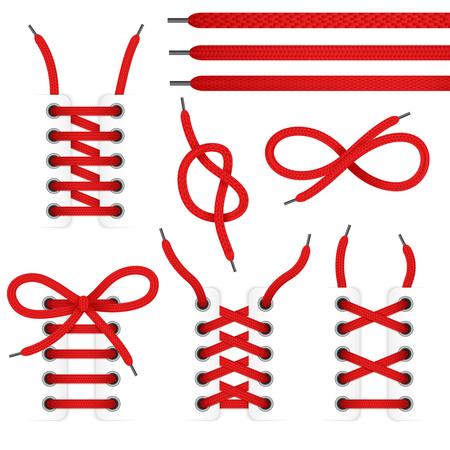 Red Lace Schuhe Icon-Set mit gebundenen und ungebundenen Schnürsenkel isoliert auf weißem Hintergrund