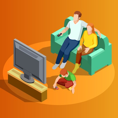 family playing: Young family watching tv in living room with little boy playing on carpet isometric view vector illustration
