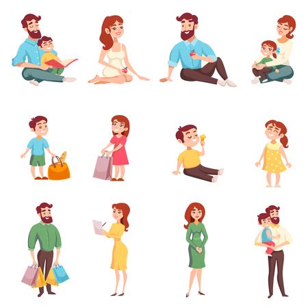 漫画のスタイルのバッグを持つお母さんお父さん娘息子と幸せな家族の設定します。  イラスト・ベクター素材