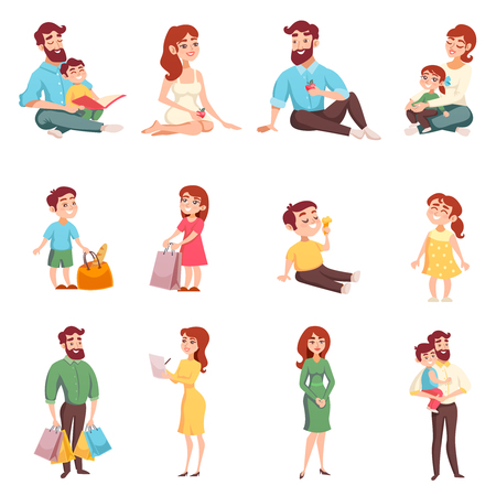 Set of happy family members with mom dad daughter son with bag cartoon style Vectores