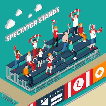 Spectator stands with excited fans with white red accessories during sporting event isometric vector illustration