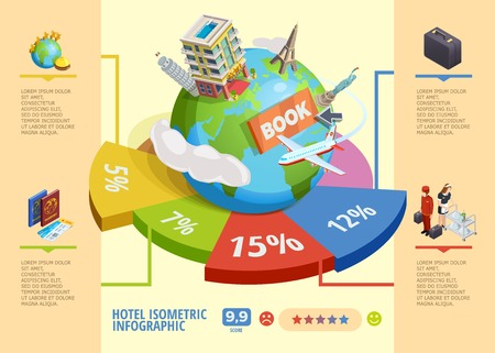 International best hotels booking isometric infographics with percentage data